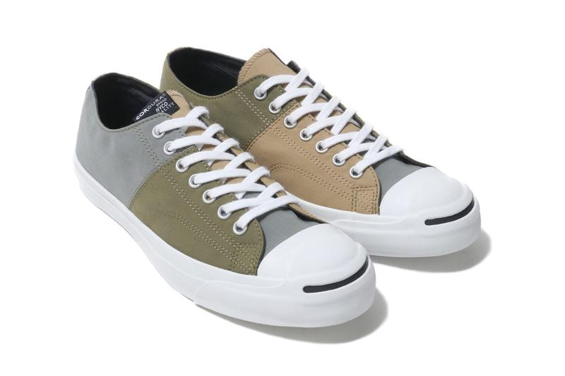 Converse Jack Purcell Cordura Nyco panels patchwork deconstruction earth tones olive beige grey white sneaker footwear classic shoe laces white