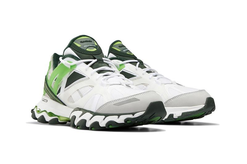 Cottweiler Reebok DMX Trail Shadow White Electric Green mesh suede grey dmx shear midsole sneaker footwear shoes dark forest functional hi tech progressive
