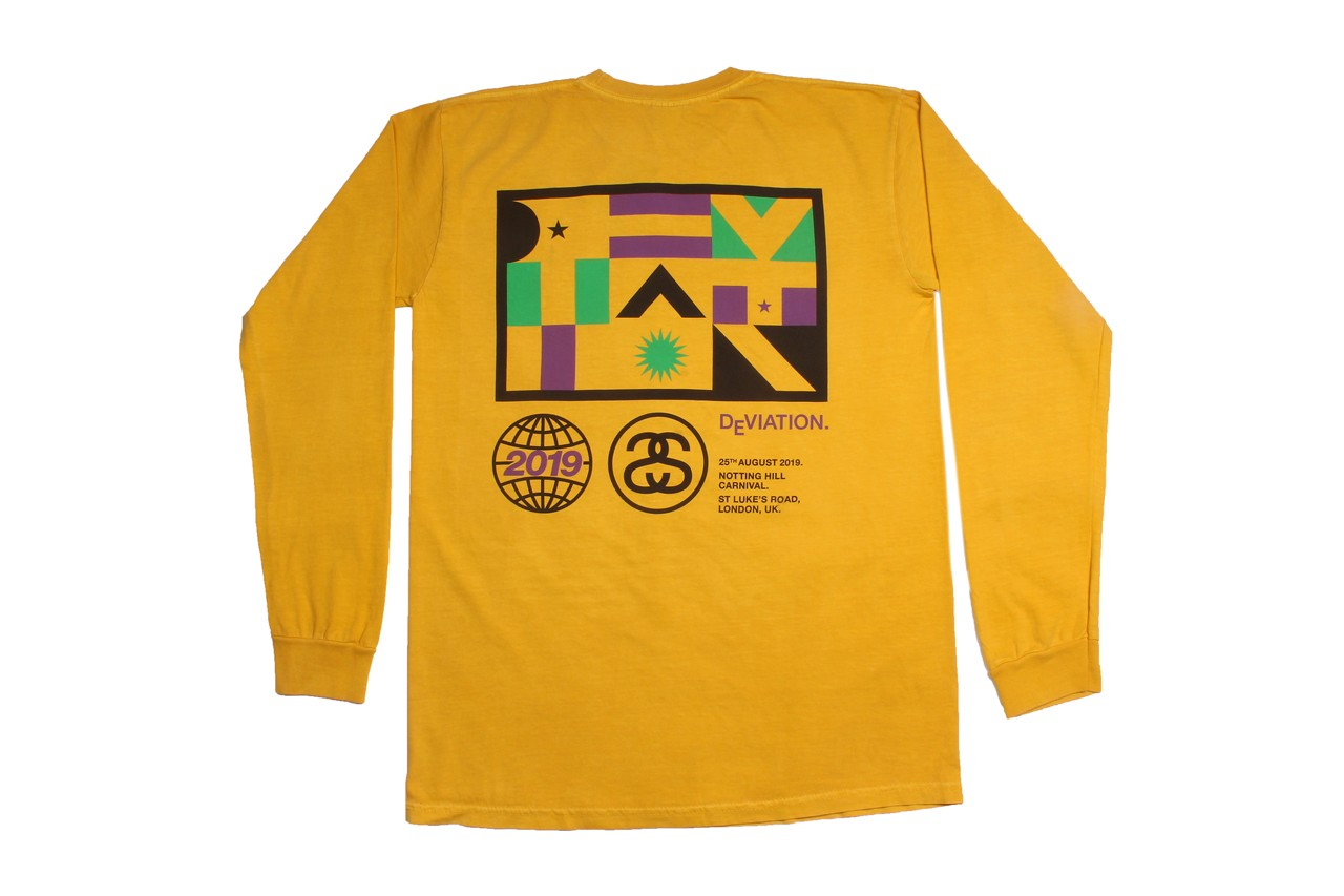 Stüssy Deviation Notting Hill Carnival Limited Edition Shirts tees Black White Blue Yellow august 25