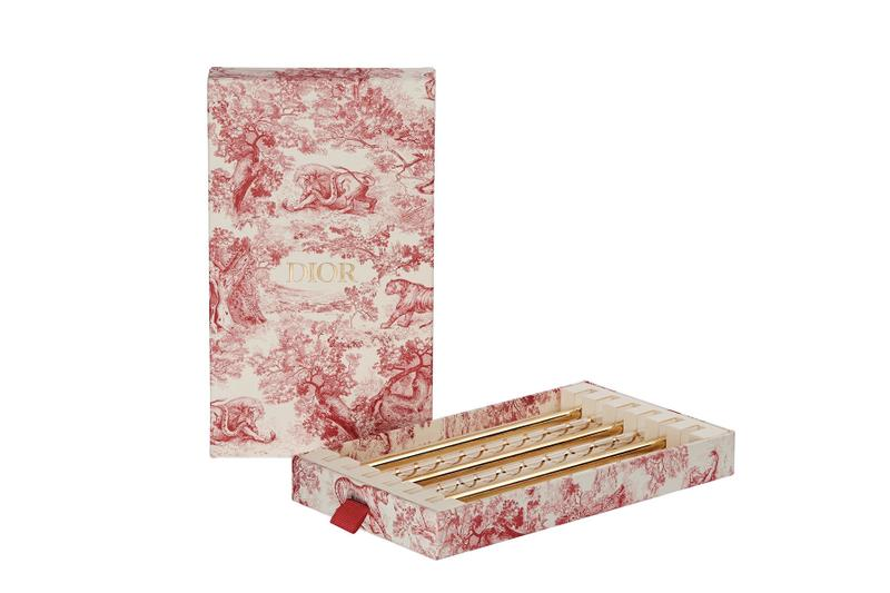 Dior $150 USD Reusable Straws hand blown gold printed details red white box set of 6 sustainability