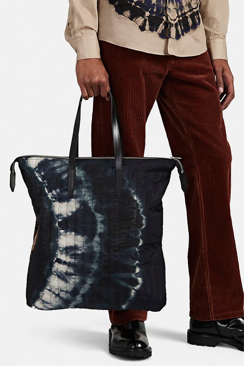 Dries Van Noten Fall Winter 2019 FW19 Collection Runway Tie-Dye-Motif Canvas Tote Bag Quilted Nylon Multicolored Monochrome Belgian Designer Barneys New York