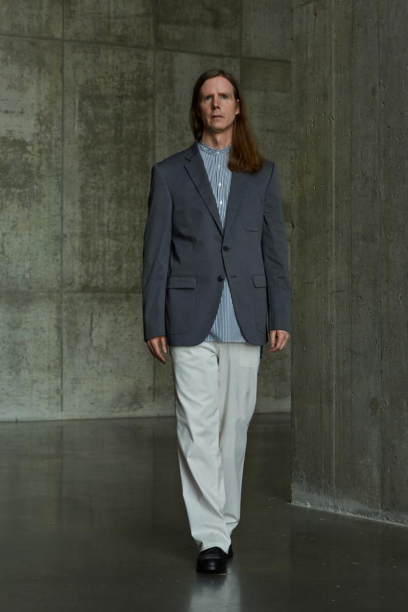 École de Pensée Spring/Summer 2020 Lookbook Blazers Jackets Shirts Trousers Pants Shorts Striped Tweed Blue Yellow Gray
