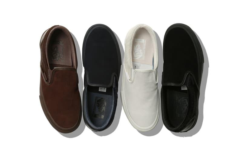 Engineered Garments Vans Vault Suede Slip-On LX First Look white black blue navy brown