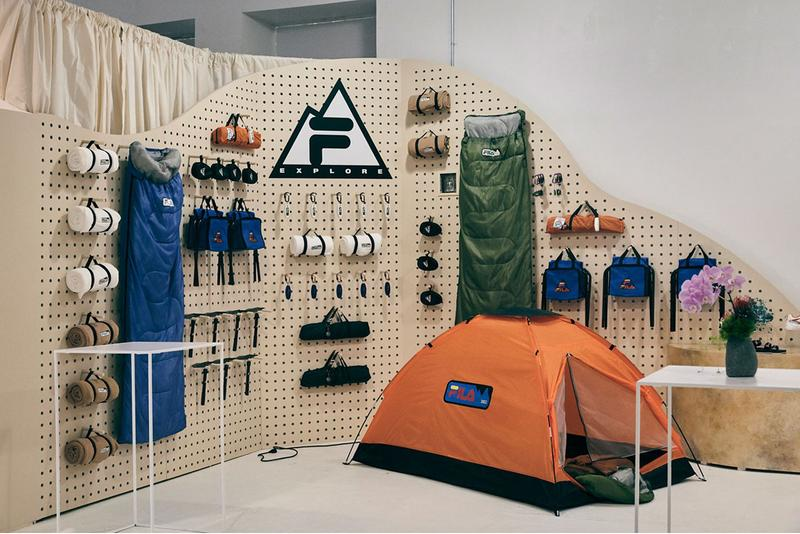 FILA explore new york event recap outdoors sports red orange blue green white black city tent sleeping bad mirrors mountains  sneakers shoes topographic map sewing