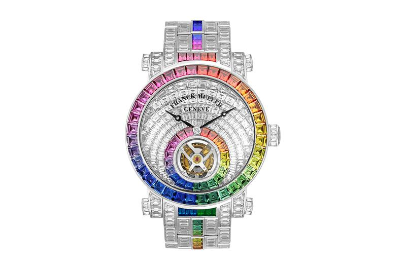 Franck Muller Rainbow Invisible Setting Tourbillon Watch Release Information Closer Look Swiss Luxury Timepiece World Brand Piazza 2019 baguette diamond Diamonds Sapphires