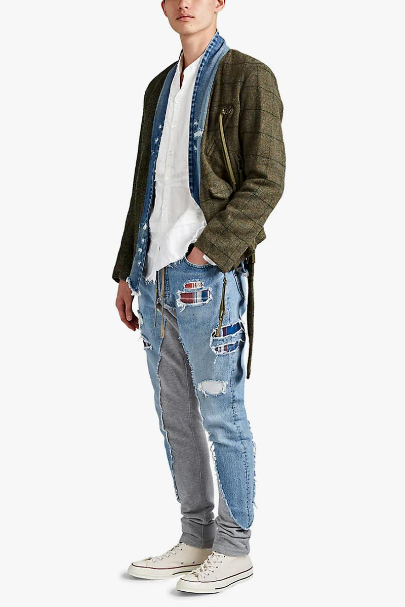 greg lauren denim french terry slim jeans patchwork plaid release