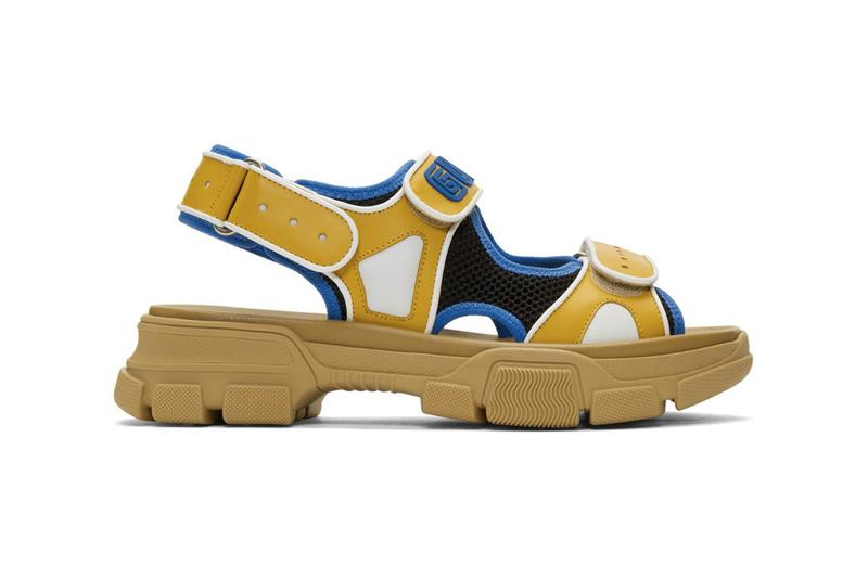 Gucci Black and Blue Yellow Aguru Sandals Release