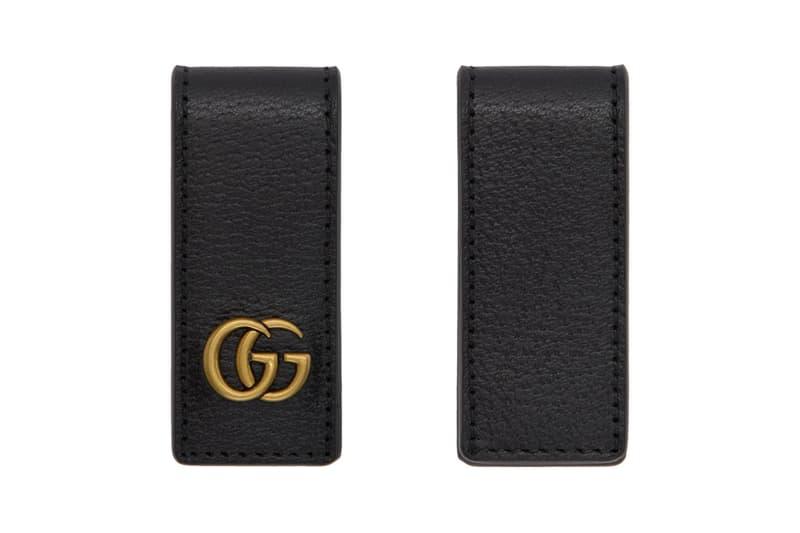 Gucci Black Leather Money Clip silver gold bee monogram Release Info Buy Black