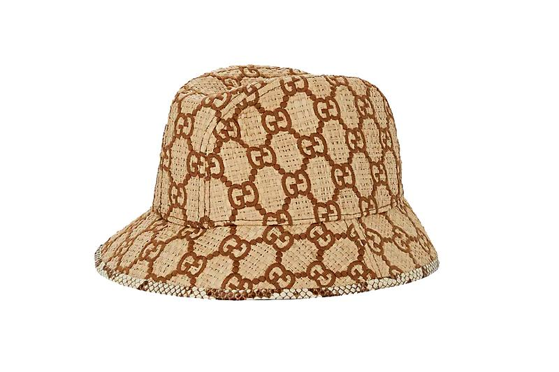 Gucci GG Logo Raffia Bucket Hat Fall Mens Womens Snakeskin trim Ivory Brown Monogram Print Barneys beige cap tan