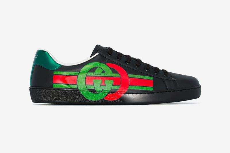 Gucci Red Green Black Ace Logo Print Leather Sneakers gucci Italian fashion Milan Milano Leather Suede Trainer footwear Shoes Kicks Fashion