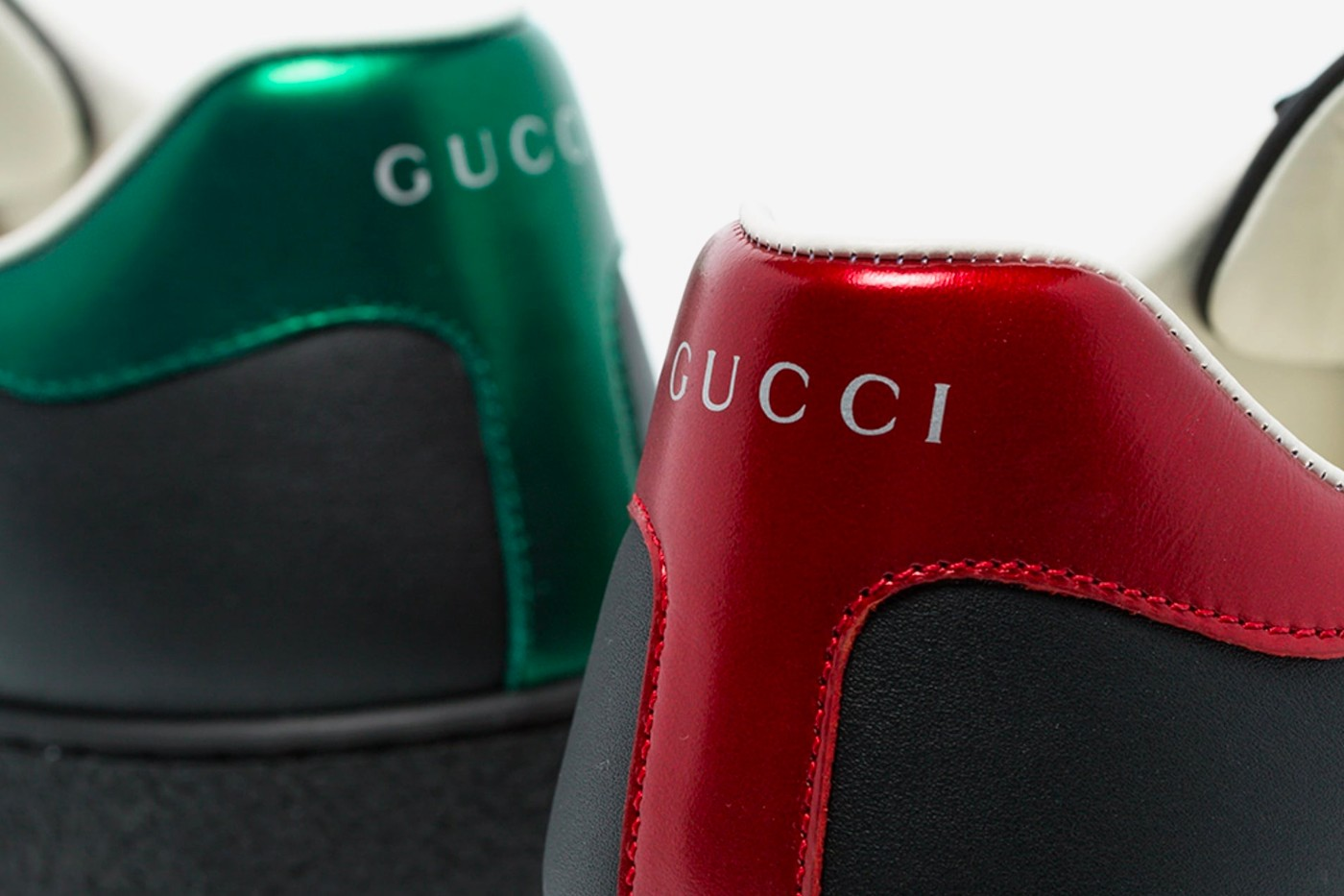 Gucci Red Green Black Ace Logo Print Leather Sneaker Release