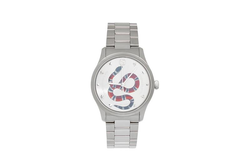 gucci swiss made stainless steel silver tone snake watch graphic applique