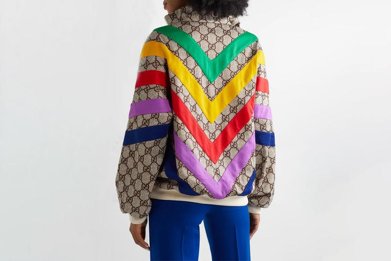 Gucci Retro Rainbow Track Jacket Release monogram gg outerwear italian net-a-porter