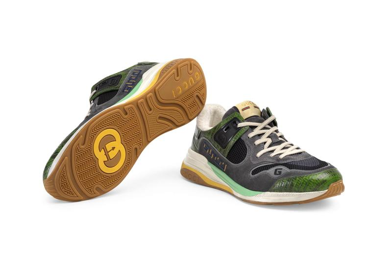 Gucci UltraPace Mixed-Materials Sneaker Green pattern multi leather hand painted sole vintage logo interlocking G detail footwear shoes designer footwear