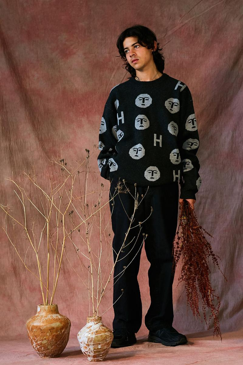 "HERESY Fall Winter 2019 FW19 Collection Lookbook Arktis Collaboration ""Growing"" Folk Nomadic Prints Designs Blanket Scarf Outerwear Coats Camouflage Print Workwear Gloves Hats"