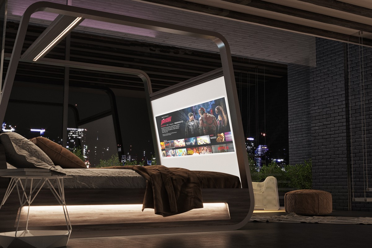 Hi-Interiors' New App-Enabled Smart Bed Has a Built-In Projector and Sound System