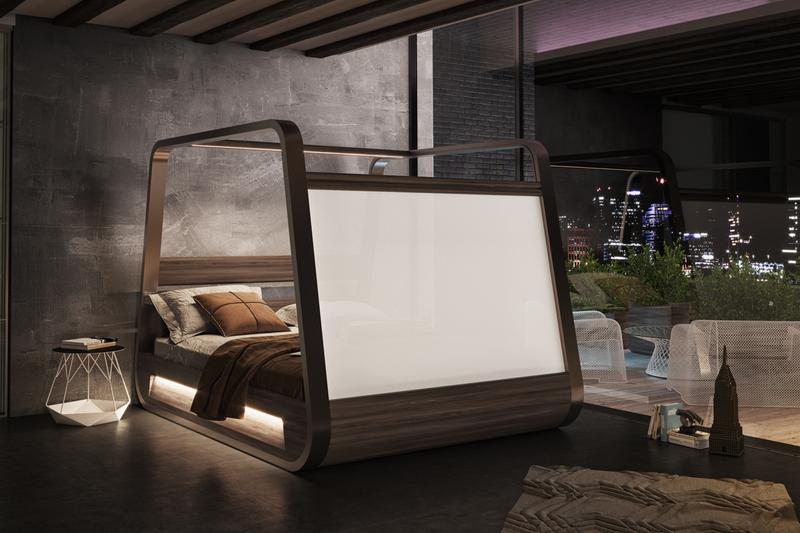 Hi-Interiors App Enabled Smart Bed Built In Projector Sound System Speakers HiBed Movies TV Music Health Lighting Lounge Entertainment