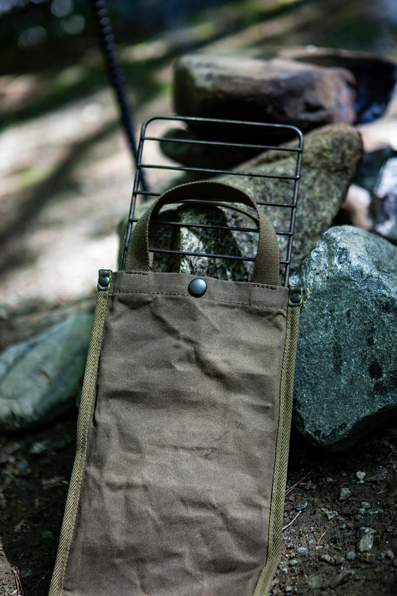"hobo x TRUCK Furniture ""Takibi Bar"" Season 2 Fashion Apparel Camping Gear Collection Campaign Photography Lookbooks Outdoors Tokyo Japan Paraffin Wax Coated Olive Canvas Items Utility Bag Folding Chair Tote Apron Low Table Pouch Case"