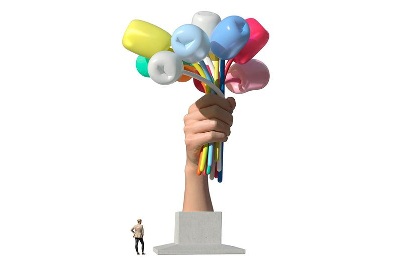 Jeff Koons Bouquet of Tulips Paris Installation Palais de Tokyo Champs-Elysées Details Controversial Public Art reject donate gift