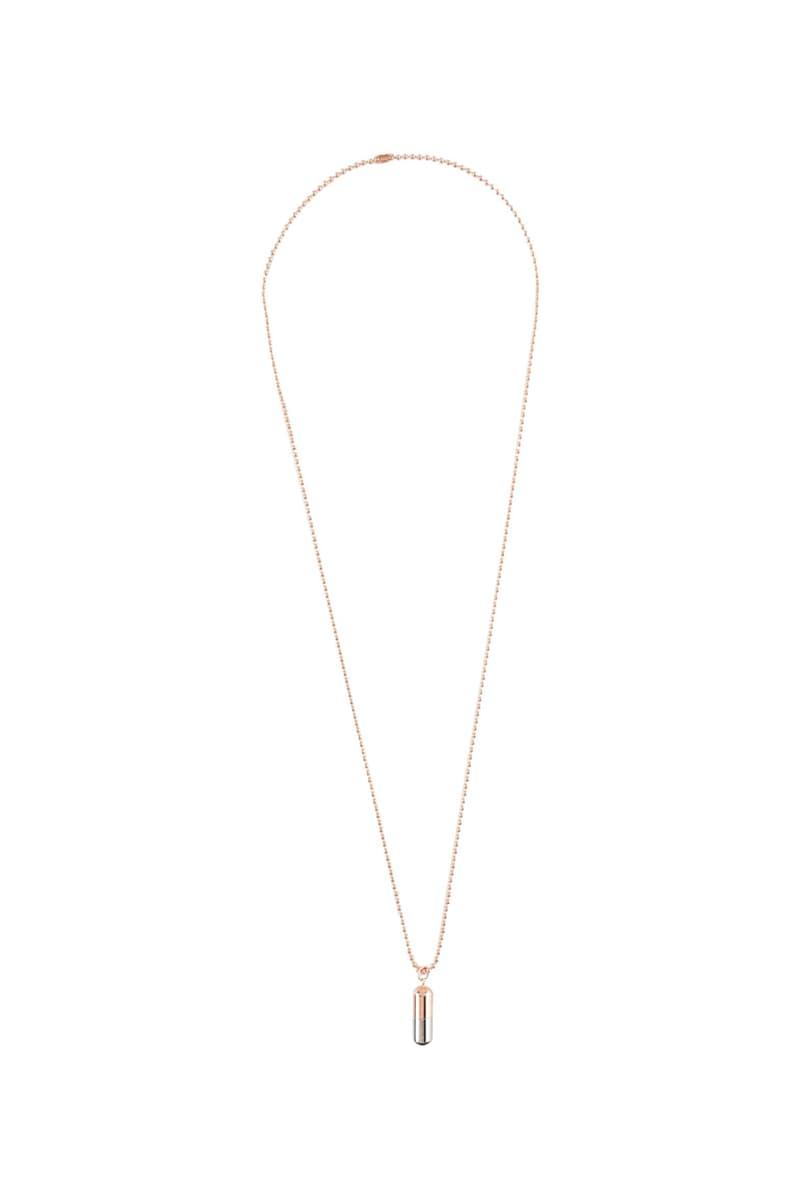 jil sander mens brass necklace necklaces bracelets bracelet jewelry logo pill capsule shape chain