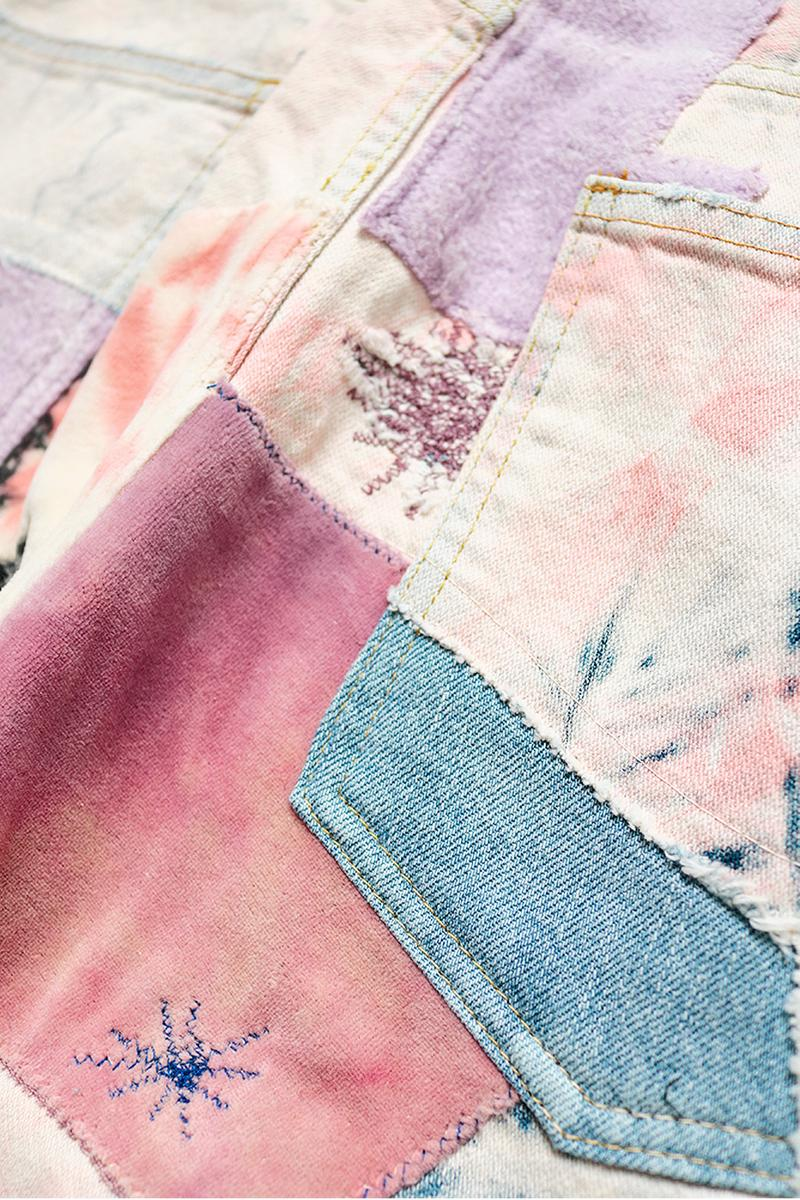 "KAPITAL OKABILLY Gypsy Ashbury Dyed Patchwork Jeans release info price date ""12oz Broken Denim OKABILLY Gypsy Patch Remake (ASHBURY DYED)"" smiley face drop"