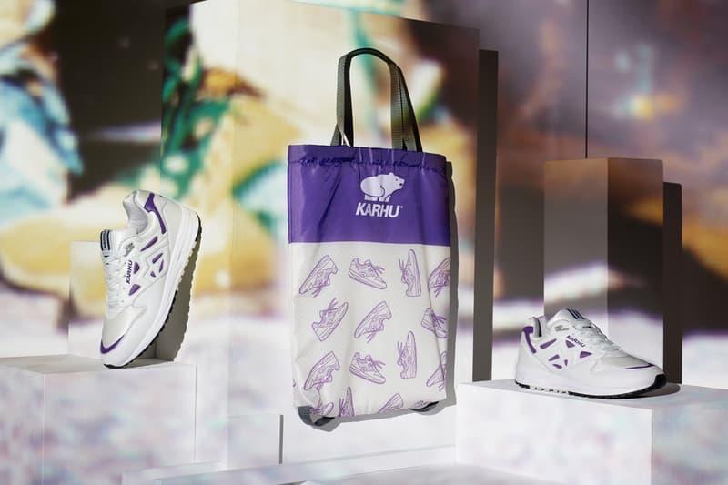 "Karhu Debuts The Legacy 96 ""OG"" sneaker Finland kanye west footwear Italian leather purple white running shoe rucksack bag"