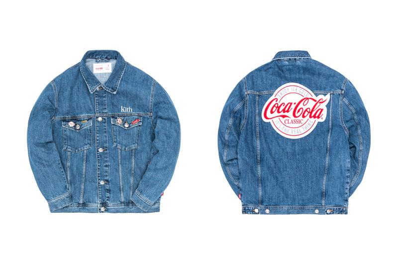 KITH Coca Cola 2019 Capsule Brand red white black windbreaker polo shirt enamel pin denim jacket indigo american heritage iconic sneakers glasses surfboards skateboards Full Look