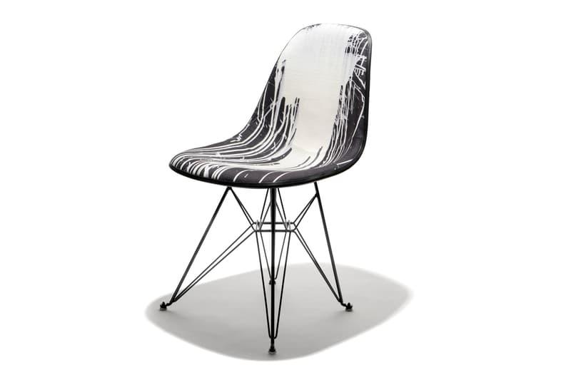 Krink Modernica Fiberglass Shell Chair Case Study Furniture Dripping black white edge trim eiffel base logo new york brooklyn upholstered metal tonal