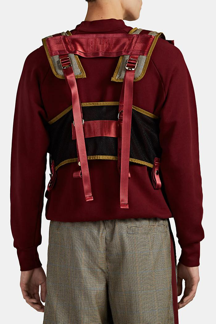 LANDLORD Mixed-Media Utility Vest Beige Burgundy Teal Barneys New York