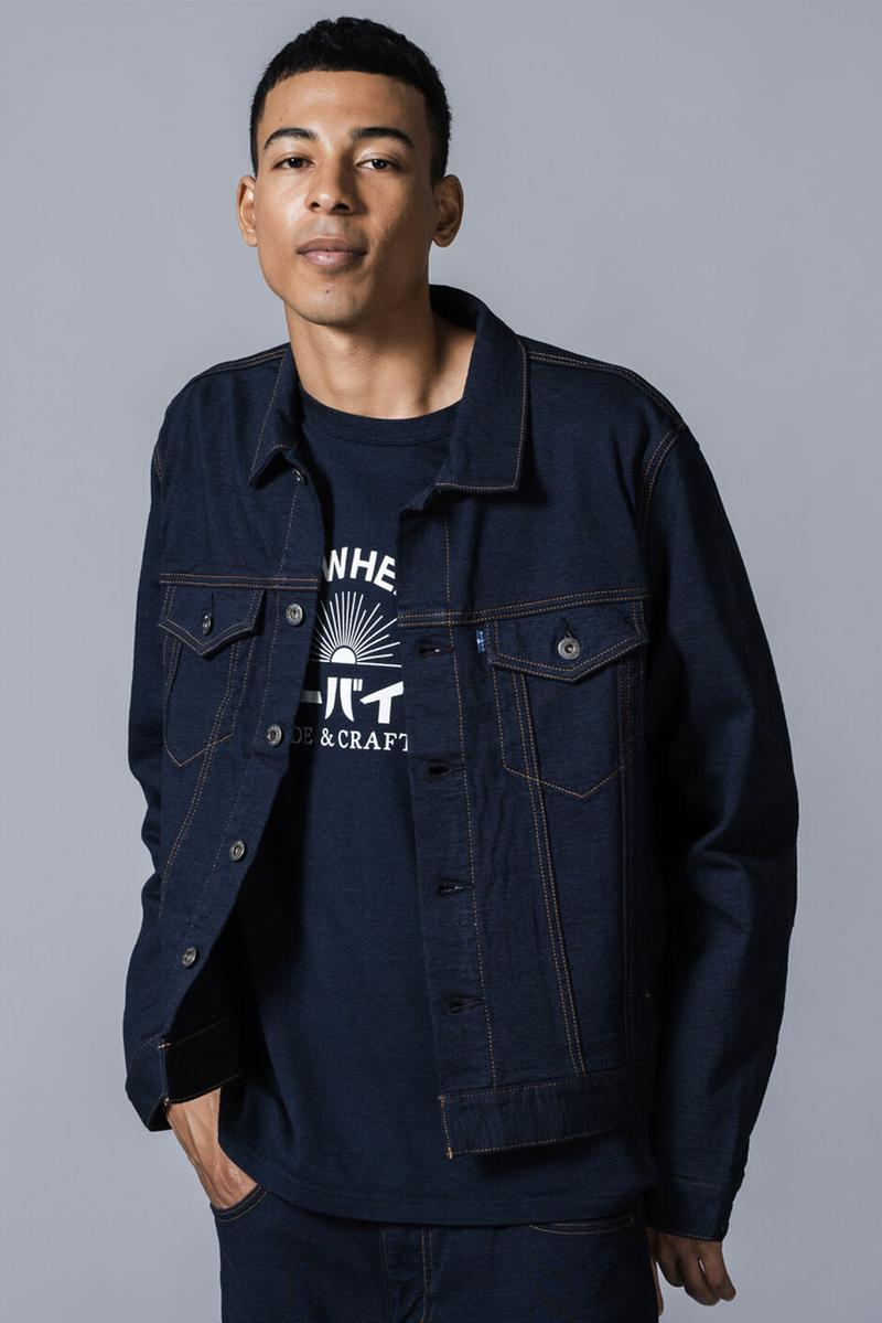 Loopwheeler Levis Made and Crafted Capsule French terry fleece 20th anniversary hanging knitting machine 502 trucker jacket navy candy dyeing made in japan