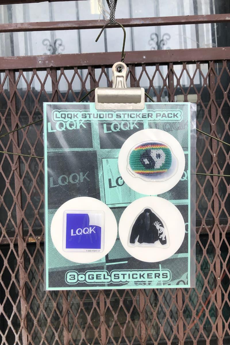 LQQK Studio Drop 19 t shirt polo hat mint white purple green ink can lqqk gel sticker pack dark plaid six panel cap streetwear logo motif minimal