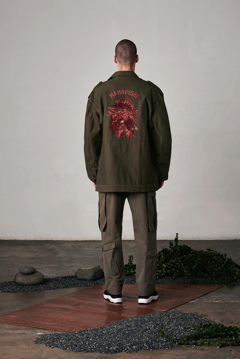 maharishi Fall/Winter 2019 Lookbook Collection Jackets Red Gold Green Brown Tigers Plants Chameleons Dragons Chacruna Pattern Elm Leaf