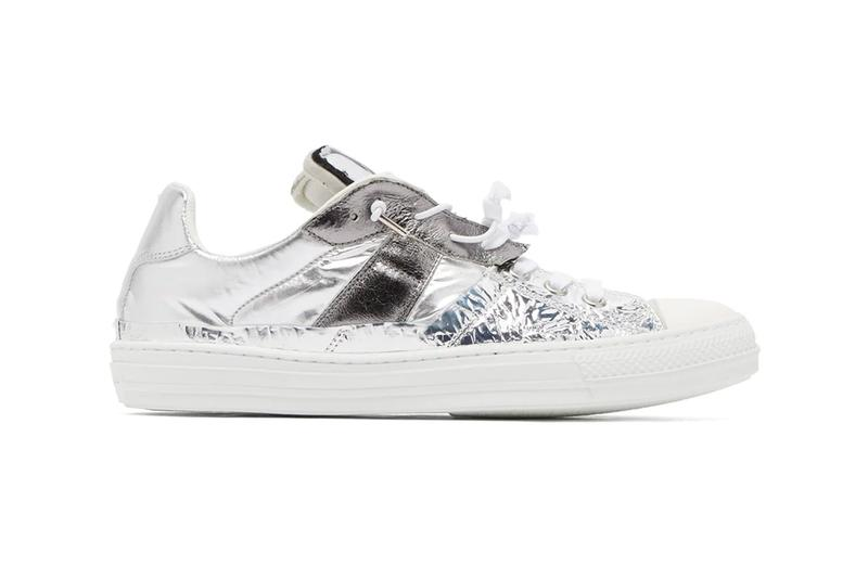 Maison Margiela Metallic Leather Trainers futuristic deconstructed panels trim silver toned fabric textiles sneakers footwear white grey distressed foil