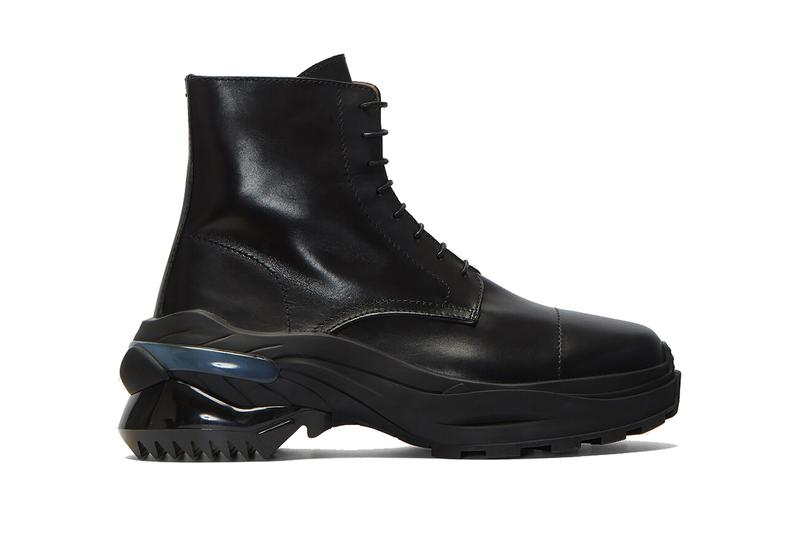 Maison Margiela Leather Combat Boot updated new chunky heel black leather coated laces mens boot season sole outsole rubber