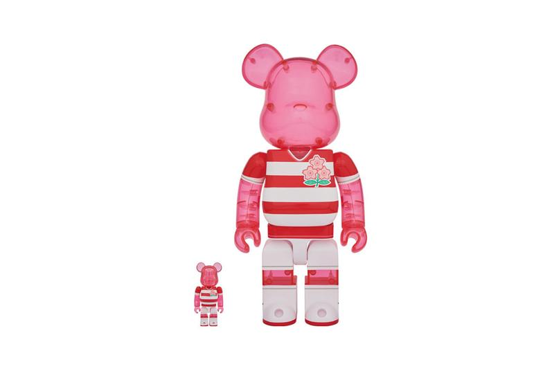 Medicom Toy BEARBRICK Brave Blossoms 100 400 Japan National Team World Cup 2019 Rugby Cherry Blossoms Sakura Emblem Red and White stripes pink toy