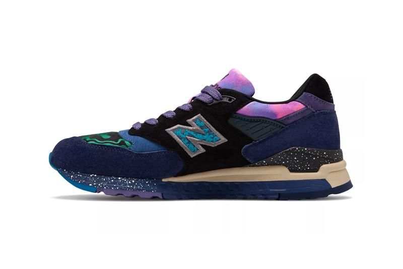 new balance made in usa 998 blue with green colorway galaxy stars colorway release ML998V1 milky way purple punk black