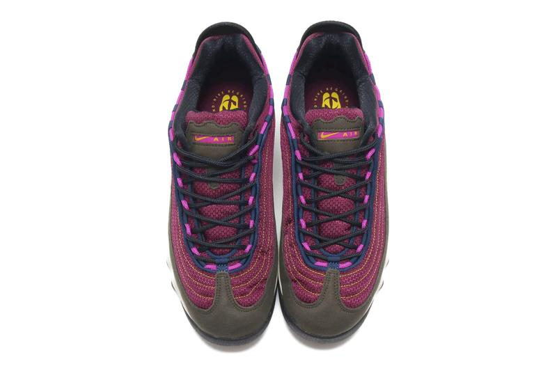 Nike ACG Air Skarn Sequoia Vivid Purple Bright Citron stitching suede insert rubber chunky silhouette footwear sneaker shoe piping foam swoosh
