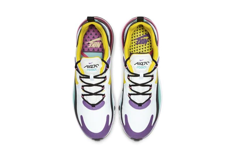 Nike Air Max 270 React Geometric Art Release Info AO4971-101 purple teal black yellow pink