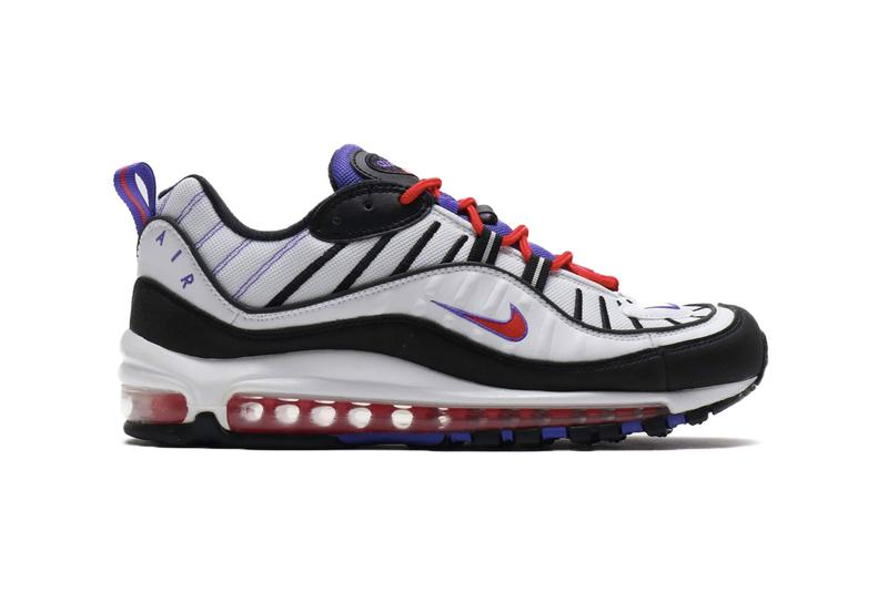 Nike Air Max 98 White Psychic Purple footwear sneakers raptors toronto nba air unit sole cushioning technology mesh leather round laces bubbles translucent