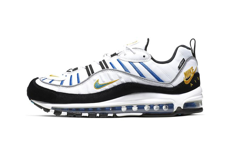 Nike Air Max 98 Premium White Teal Nebula University Gold rubber tag sneaker footwear silhouette runner trainer lifestyle windbreaker embroidery