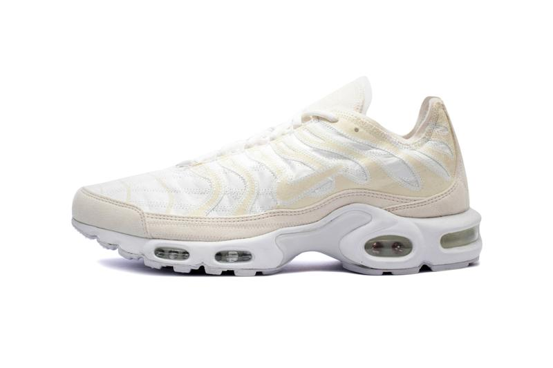 Nike Air Max Plus Deconstructed Beige White top stitching contrast white midsole air sole unit footwear sneaker tn check swoosh exposed upper