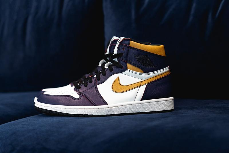 nike sb air jordan 1 og high la lakers los angeles to chicago purple gold red white black release details wearable upper changing color sneakersnstuff buy cop purchase order skateboarding basketball