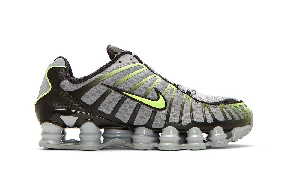"""Nike Shox TL Arrives in a Standout """"Grey/Black/Volt"""" Colorway"""