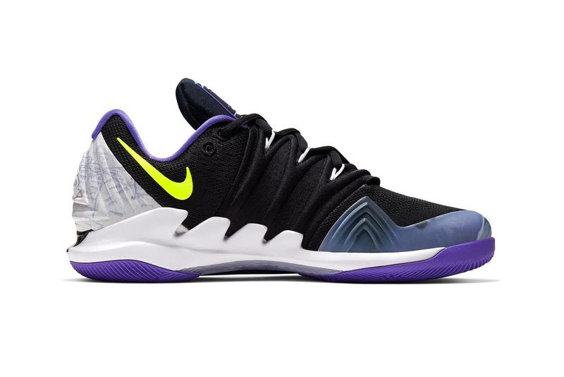 NikeCourt Air Zoom Vapor X Kyrie 5 NYC Release Official Look Nick Kyrgios basketball player Kyrie Irving black purple volt