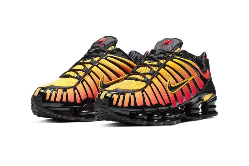 Nike Shox TL Black Amarillo sunrise gradients red yellow orange footwear technical cushioning shox midsole webbing runner trainer 2003 silhouette