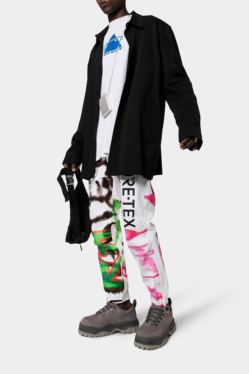 Off-White™ GORE-TEX Graffiti Print Ski Jacket Sweatpants Spring Summer 2020 SS20 Runway Inspiration Pre Season Drop Virgil Abloh Streetwear Clothing