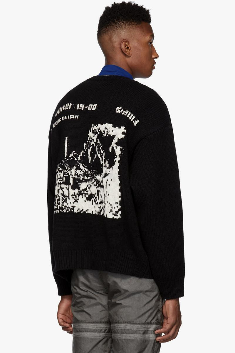 Off White Yellow Black Industrial Y013 Sweater White Ruined Factory Navy Blue Diag Panel beige virgil abloh graphics intarsia knit jacquard textiles made in Italy