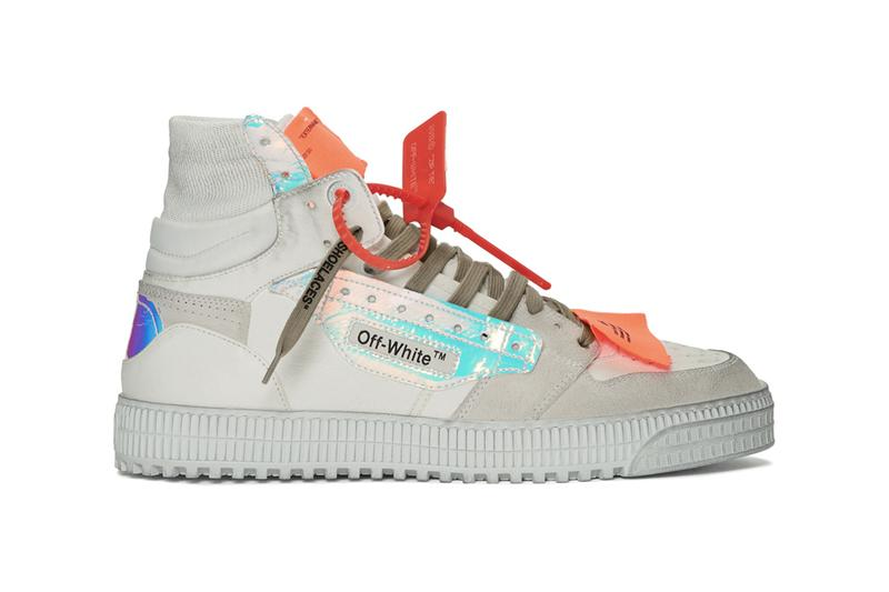 Off White Off Court 30 Sneakers All Over Black White iridescent fabrics green glitter heel dusty distressed grey leather sneakers footwear virgil abloh quotes
