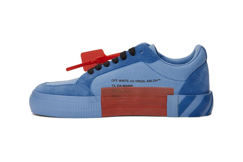 off white ssense exclusive low top vulcanized sneakers green yellow blue release