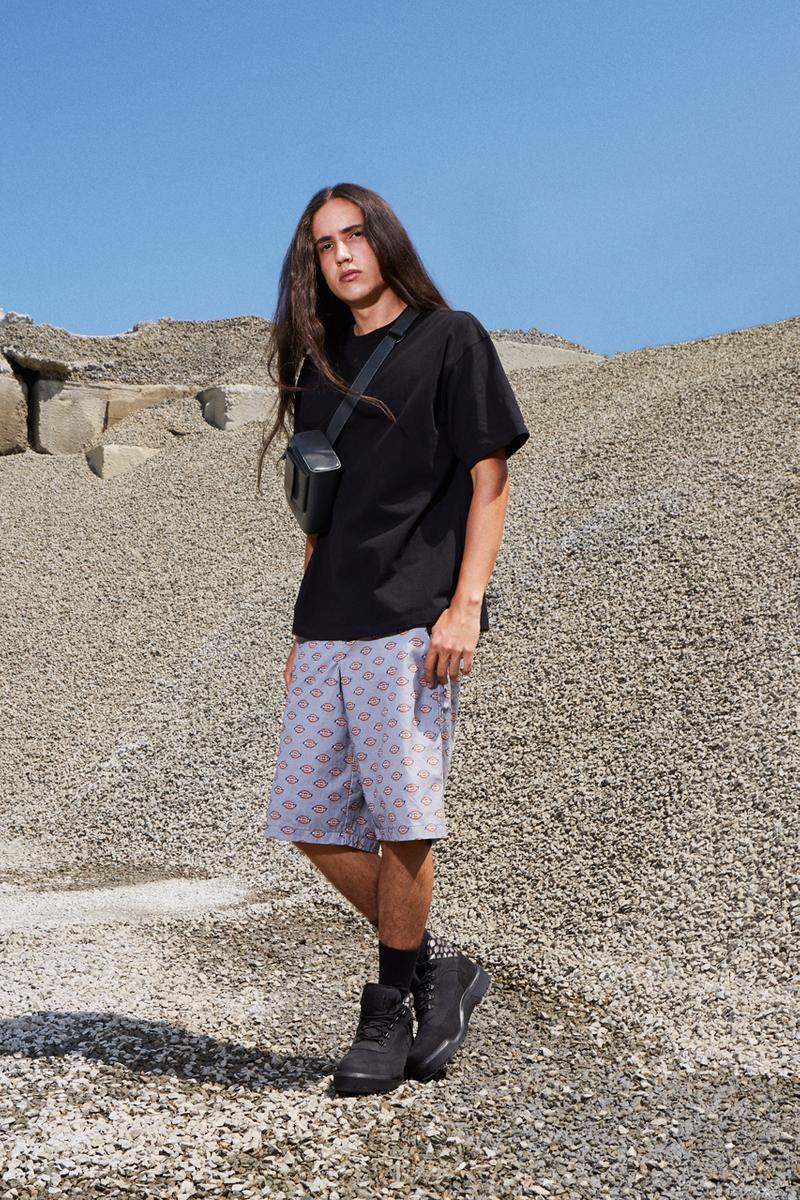 Opening Ceremony Dickies Timberland Xiuhtezcatl Martinez Maria Osuda Limited Edition Capsule Industrial Shirts Loose Fit Shorts Work Pants Gray White Khaki Black Boots Pink